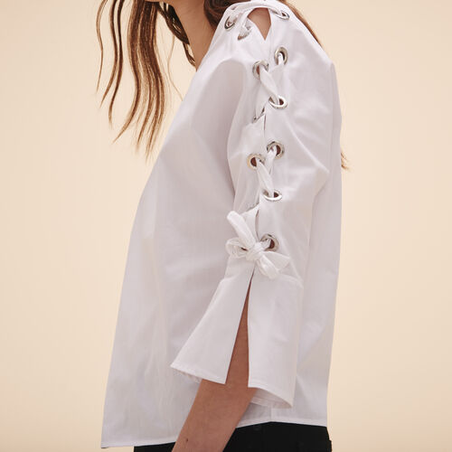 Cotton poplin top with eyelets - Tops - MAJE