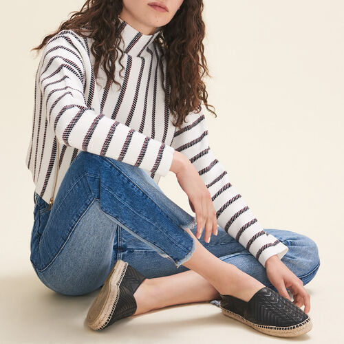 Stripped cropped locknit sweater - Knitwear - MAJE
