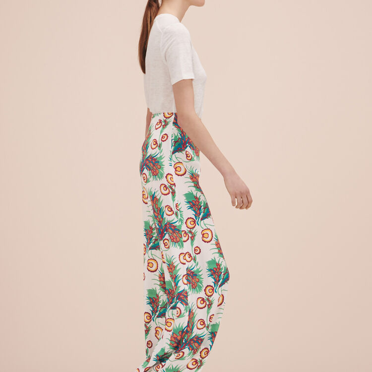 Printed wide-leg trousers - Pants & Jeans - MAJE