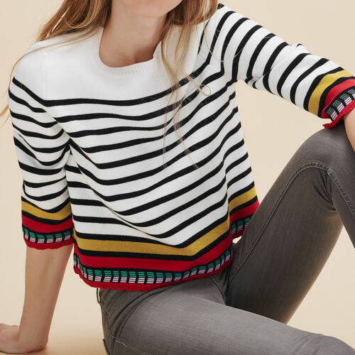 Breton jumper with embroidery - Sweaters - MAJE