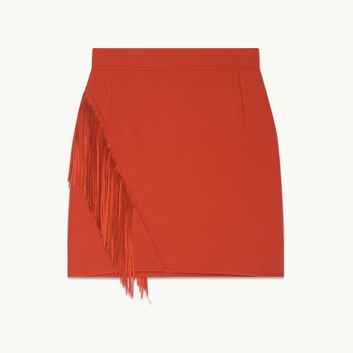 Fringed short skirt - Skirts & Shorts - MAJE