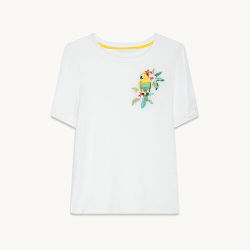T-shirt in lino con ricami - Tops - MAJE
