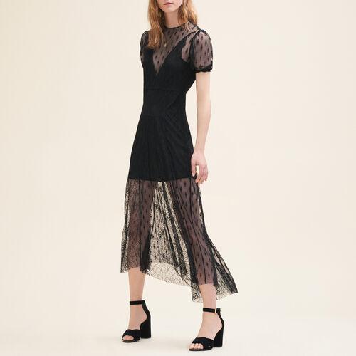 Langes Kleid mit Stickereien und Spitze - Kleider - MAJE