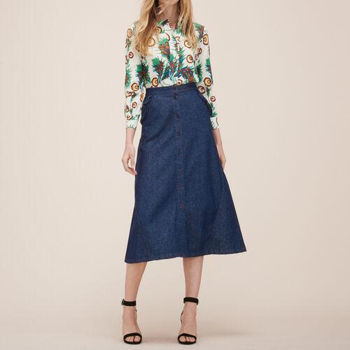 Midirock aus Jeans - Röcke & Shorts - MAJE