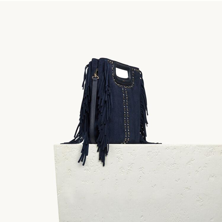 Tasche aus Veloursleder mit Nieten - M Tasche - MAJE