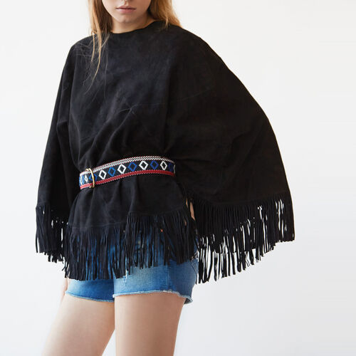 Fringed goatskin leather poncho - Gift with purchase - MAJE