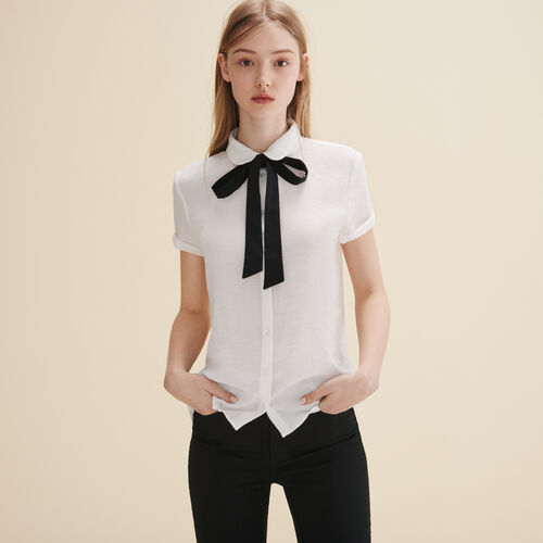 Blouse with pussy bow. - Tops - MAJE