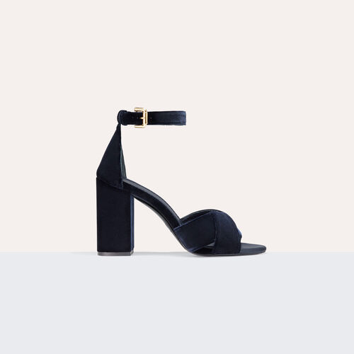 Heeled suede calfskin sandals - Shoes - MAJE