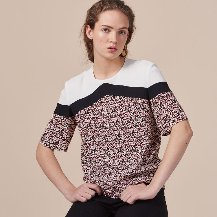 Printed tricolour top - Tops & T-Shirts - MAJE