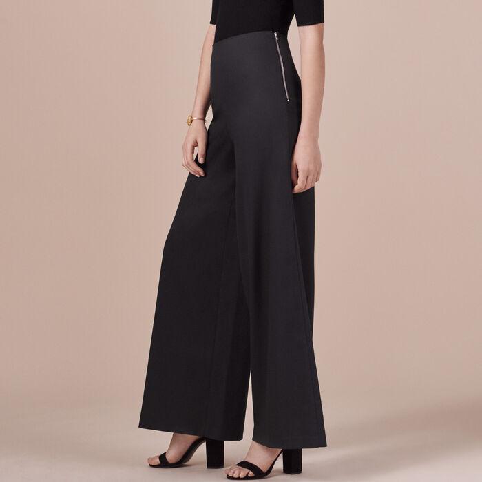 Wide-leg canvas trousers - Pants & Jeans - MAJE
