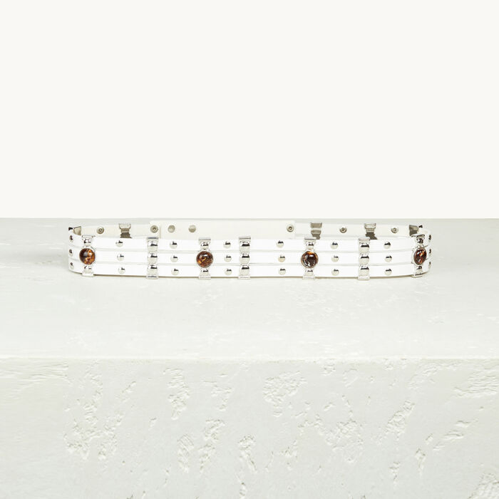 Leather belt with studs - Shoes & Accessories - MAJE