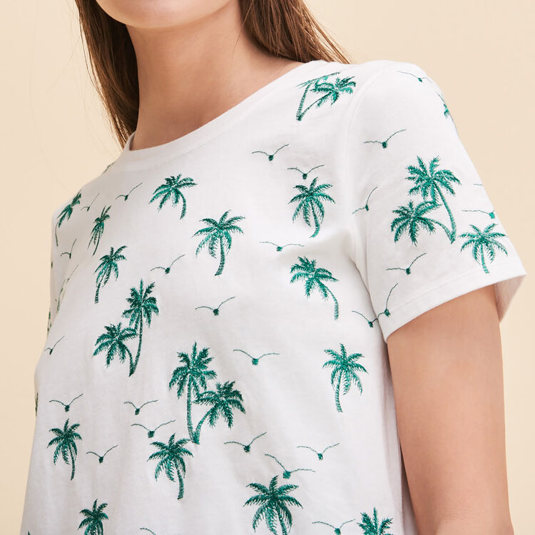 Tee-shirt avec palmiers brodés - Hauts - MAJE