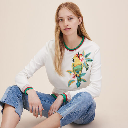 XXL embroidered sweatshirt - Knitwear - MAJE