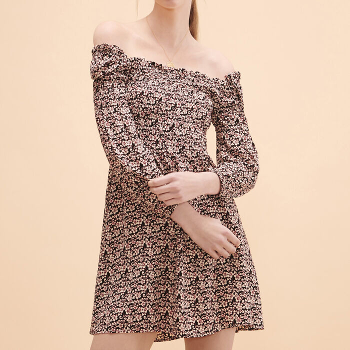 Short dress with floral print -  - MAJE