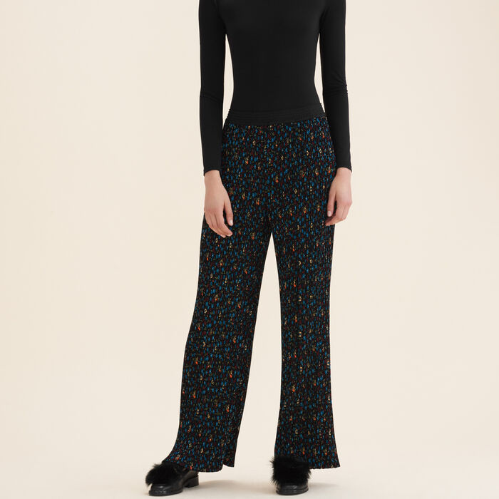 Pleated trousers with floral print - Pants & Jeans - MAJE