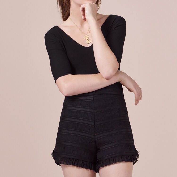 Flounced high-waisted shorts - Skirts & Shorts - MAJE