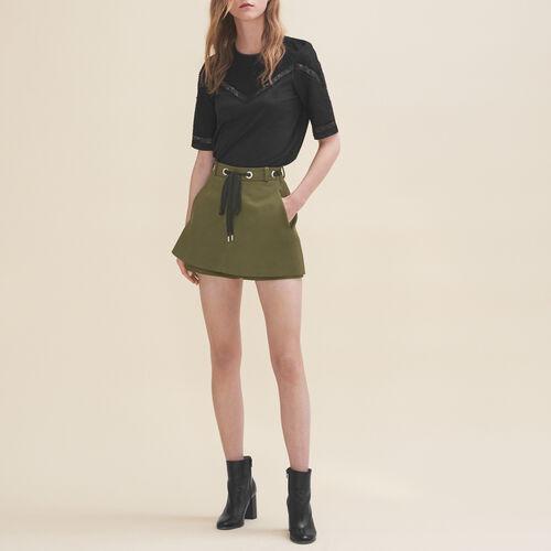 Shorts with eyelets and lacing - Skirts & Shorts - MAJE