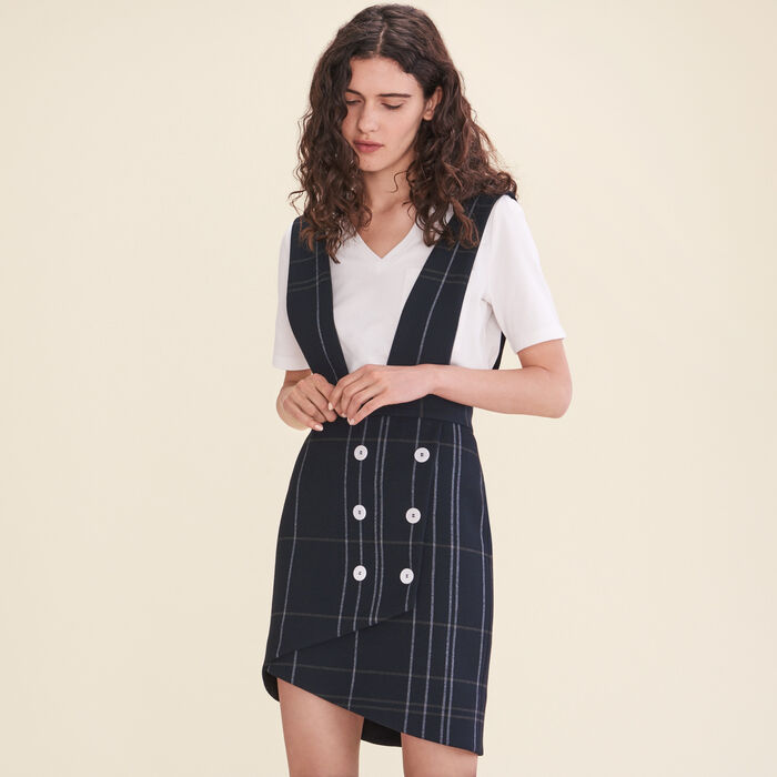 Tartan skirt with braces -  - MAJE