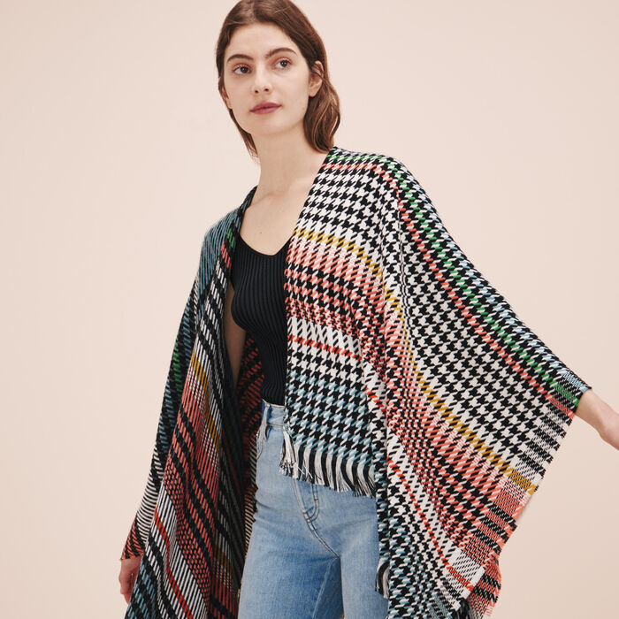 Multi-coloured knit poncho - Scarves - MAJE