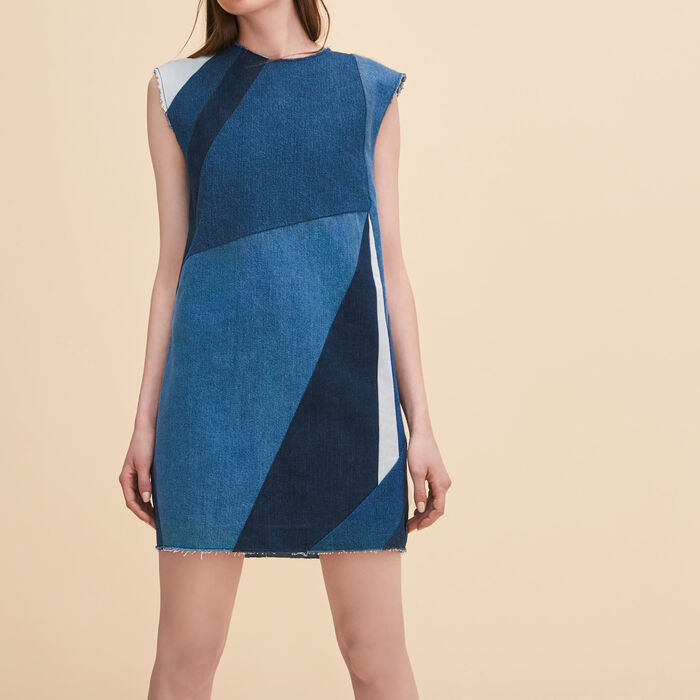 Denim three-hole dress -  - MAJE