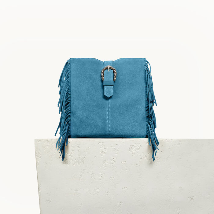 M bag in suede with scalloped buckle - M bag - MAJE