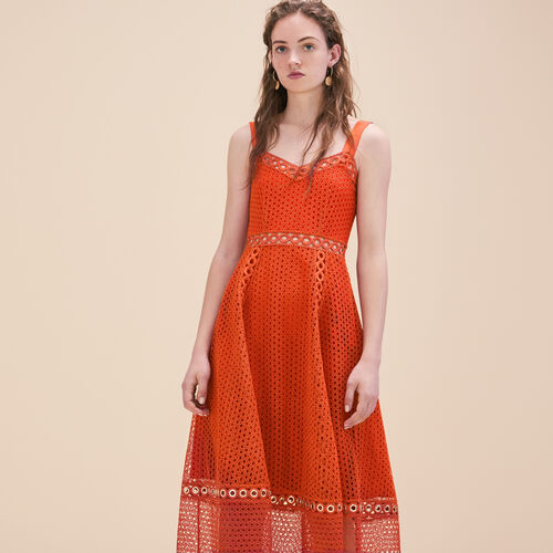 Long embroidered strappy dress - Dresses - MAJE