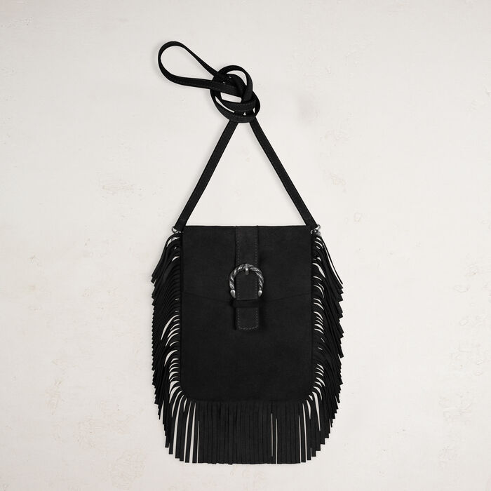 Suede shoulder bag with fringes -  - MAJE