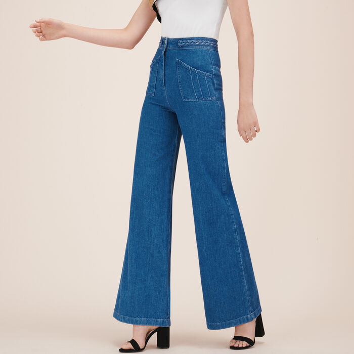 Wide-leg jeans with woven detail -  - MAJE