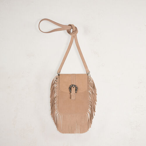 Suede shoulder bag with fringes - Voir Tout - MAJE