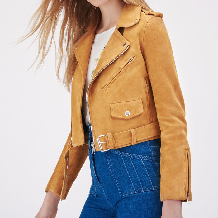 Suede leather jacket -  - MAJE