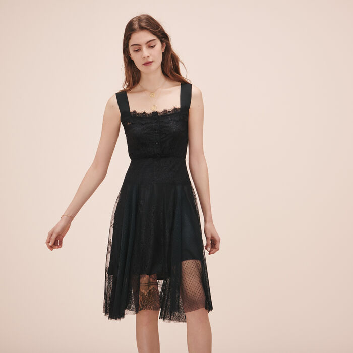 Long lace and dotted Swiss dress - Dresses - MAJE