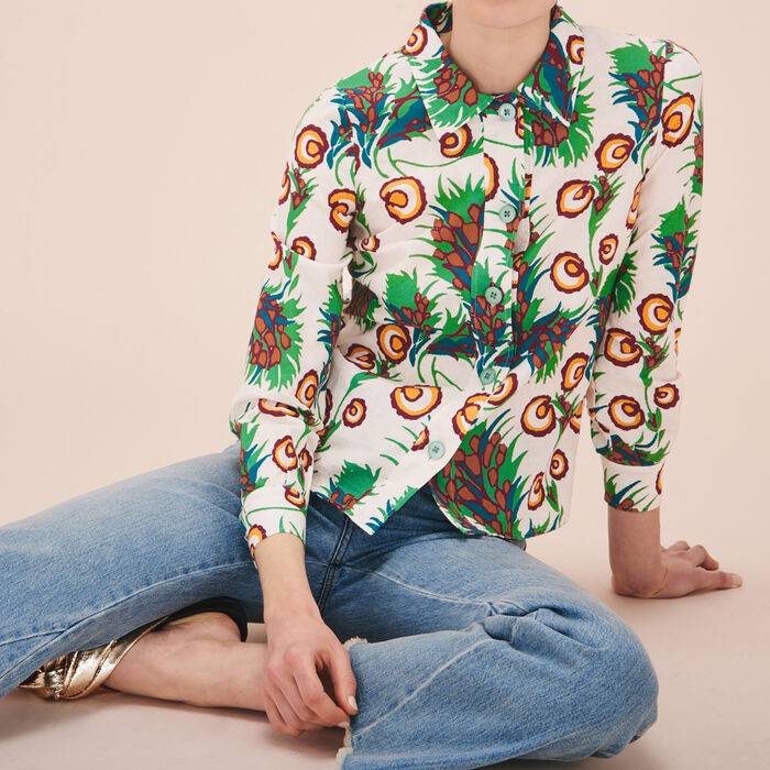 Linen and silk printed shirt - Tops - MAJE