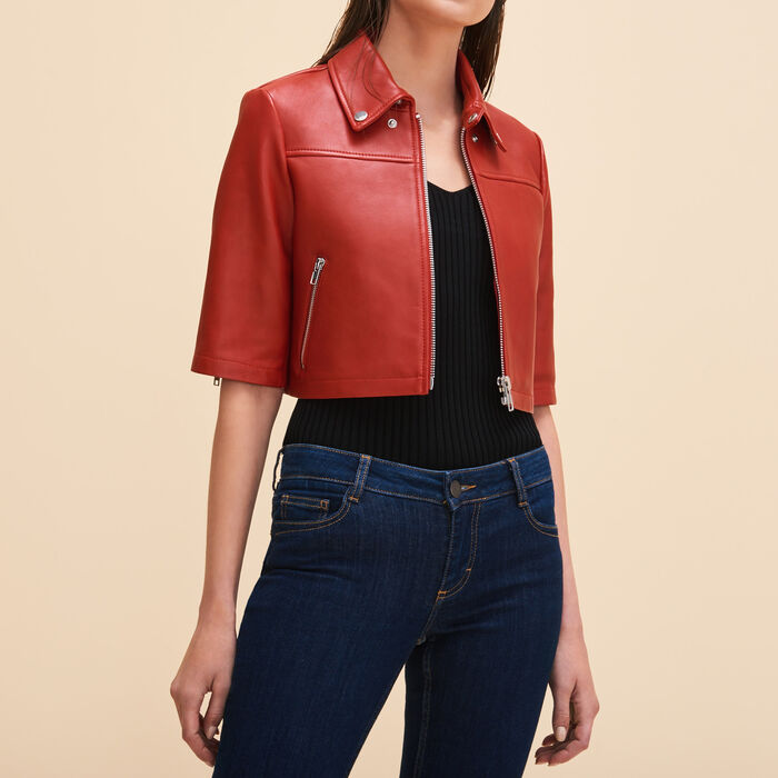 Cropped leather jacket - Jackets & Bombers - MAJE