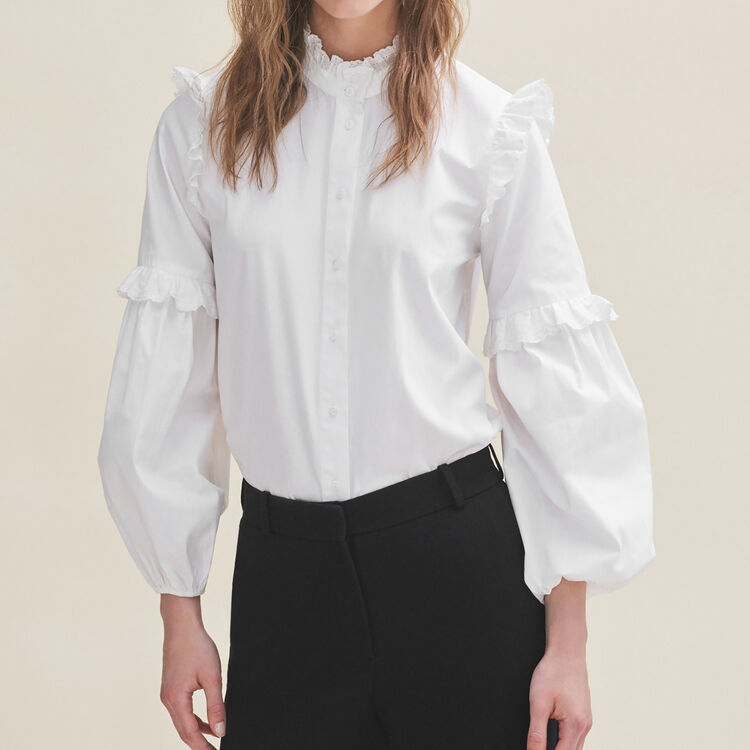 Poplin shirt with frills - Tops & T-Shirts - MAJE