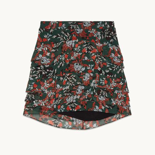 Jupe courte imprimée asymétrique - Jupes & Shorts - MAJE
