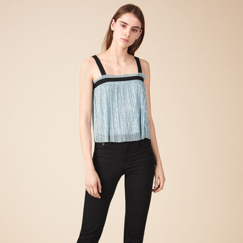 Pleated-effect lurex top. - Tops & T-Shirts - MAJE