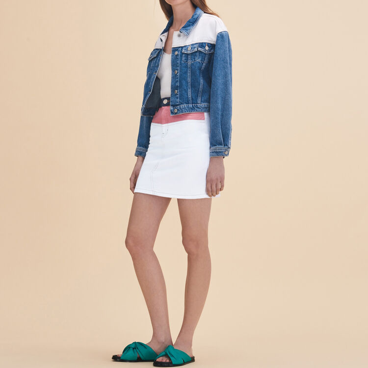 Falda corta de denim multicolor - Faldas y shorts - MAJE