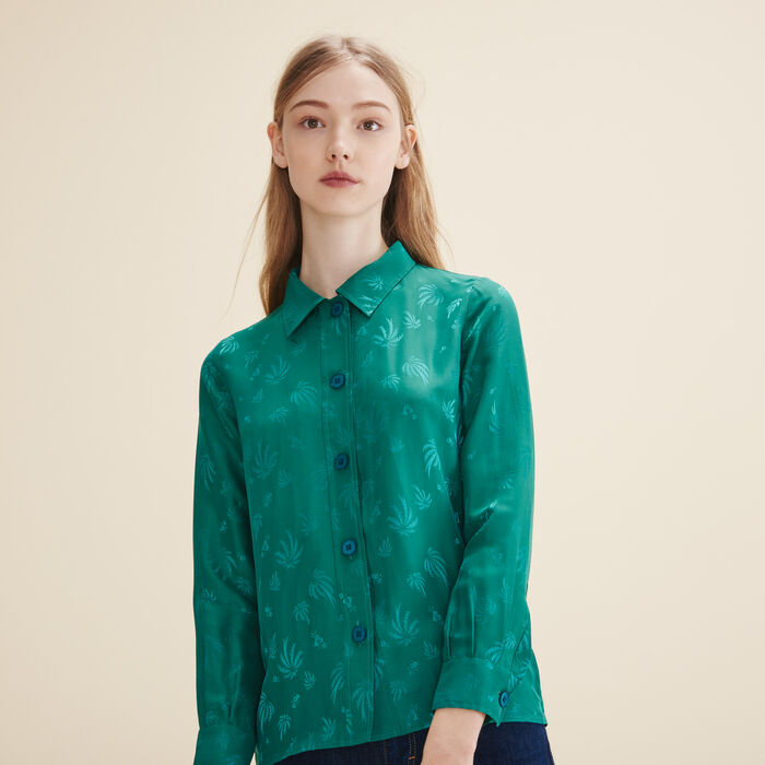 Embroidered silk shirt - Tops & T-Shirts - MAJE