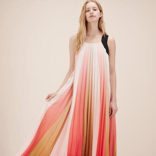Vestido largo plisado multicolor - Vestidos - MAJE