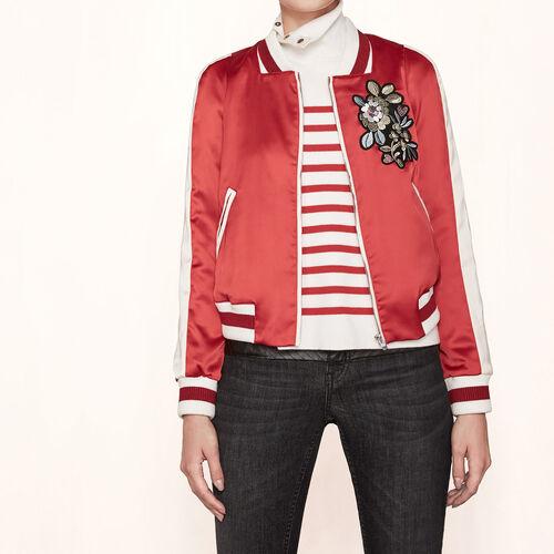 Varsity-style embroidered satin jacket - Coats & Jackets - MAJE