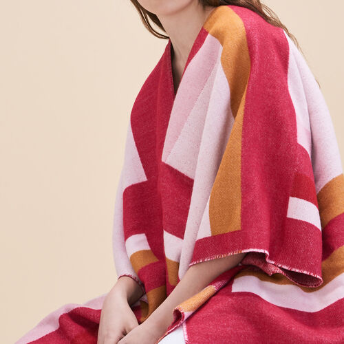 Long poncho with graphic print - Scarves - MAJE