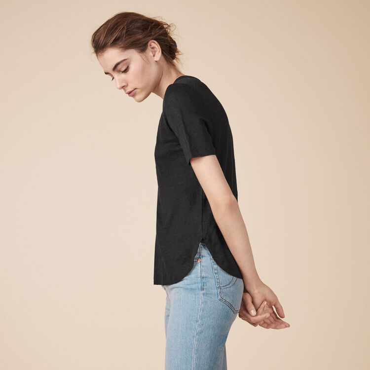 Embroidered linen T-shirt - Tops & Shirts - MAJE
