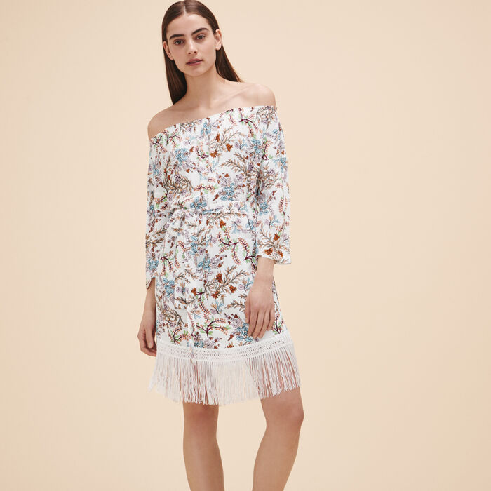 Printed dress with fringes - Dresses - MAJE