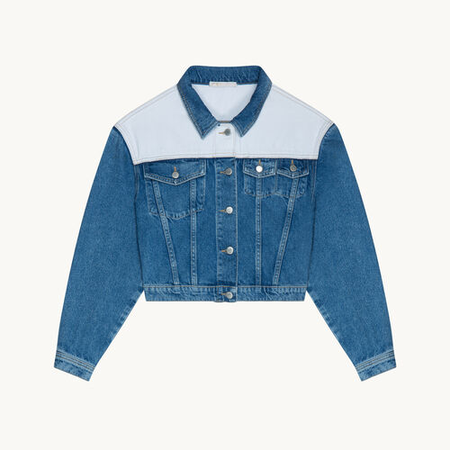 Two-tone denim jacket - Coats & Jackets - MAJE
