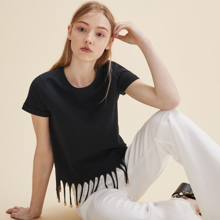 T-shirt with beaded fringes - Tops - MAJE