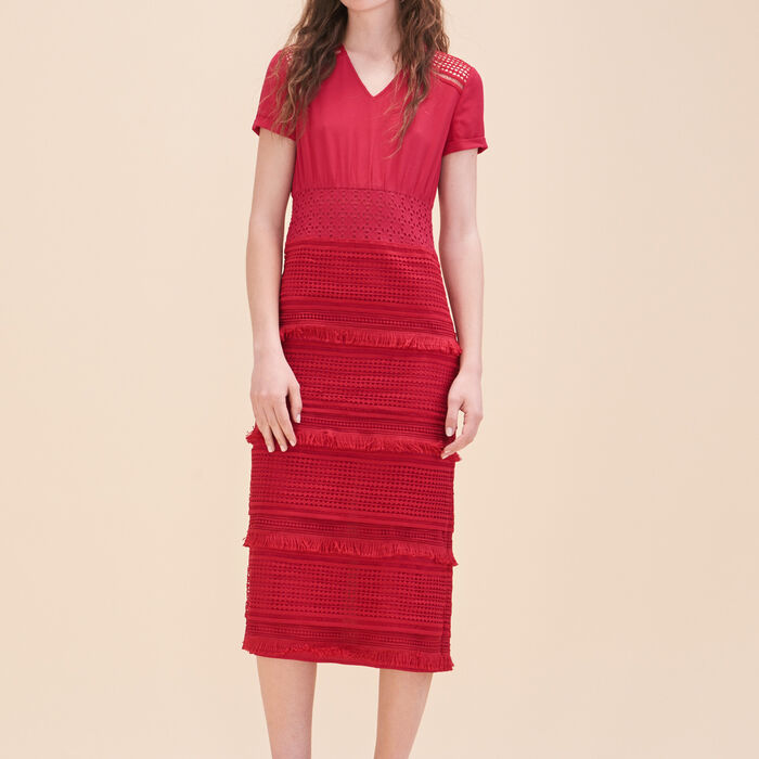 Embroidered crepe dress - Dresses - MAJE