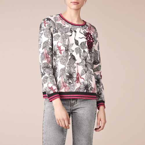 Printed cotton embroidered sweatshirt - Tops & T-Shirts - MAJE