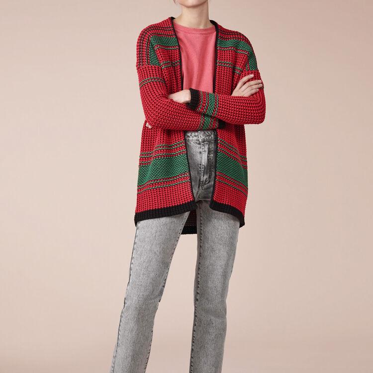Two-tone moss stitch knit cardigan - Sweaters - MAJE