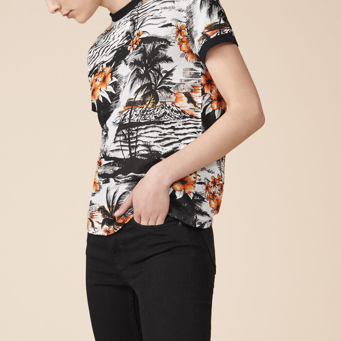 Printed linen T-shirt -  - MAJE