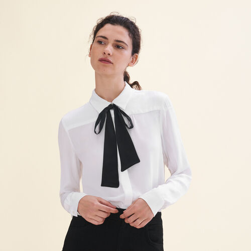 Floaty shirt with pussy bow-style tie - Tops - MAJE